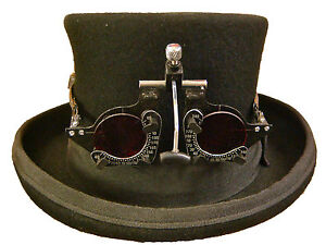 Steampunk-victorian-top-hat-with-optical-style-goggles-red-lens