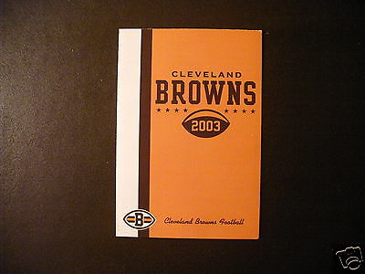 Cleveland Browns 2003 Nfl Pocket Schedule   Browns Com
