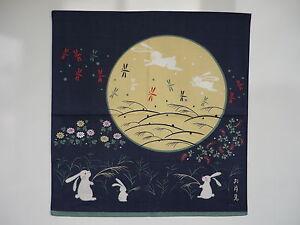 Japanese-wrapping-cloth-FUROSHIKI-moon-rabbit-B-kimono-obi-yukata-tapestry