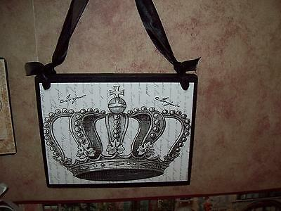 Shabby Paris chic decor crown plaque French decor wall decor cottage