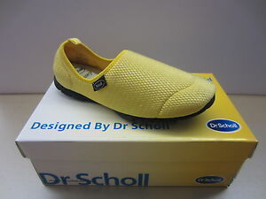 Scholl-Ladies-9429-Excursion-Message-Yellow-Mesh-Slip-On-Shoes-New-In