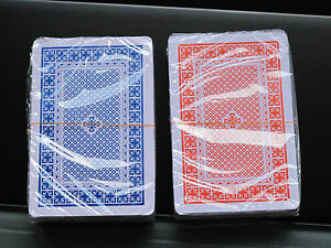 TWIN SEALED DECKS 100% PLASTIC WASHABLE PLAYING CARDS RED & BLUE DECK