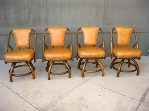 Vintage mid century modern bamboo dining room table and 4 for Dining room table with swivel chairs