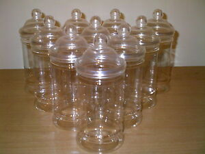 12 X EMPTY PLASTIC VICTORIAN SWEET CANDY JAR (500ml) FREE P&P