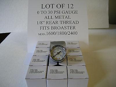 Lot Of 12 Pressure Gauges,0 To 30psi Abs/metal Fits Broaster 1600 1800 2400