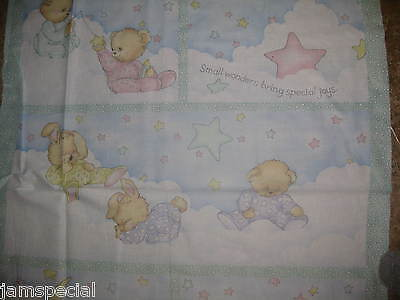 Pj Friends Baby Quilt Panel 2 Tops Fabric Small Wonders Pink Green