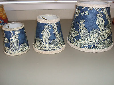 Pierre Deux Blue La Declaration French Country Toile Lamp Shade Chandelier