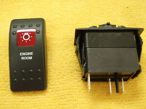 ENGINE-ROOM-LIGHT-SWITCH-BLK-W-1-RED-LENS-CONTURA-II-CARLING-V1D1-SWITCH-ON-OFF