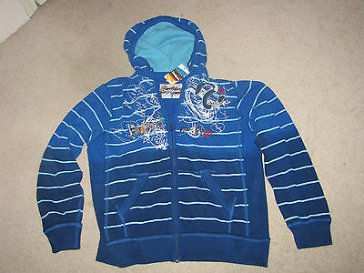 Desigual terry M Long Sleeve Sweat Shirt Hoodie Blue Handmade