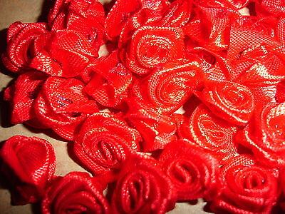 kleine Satinrosen rot 10 Stück