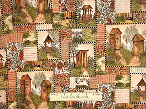 Quilters fabric with outhouses garden birdhouse flowers   Outhouse Material