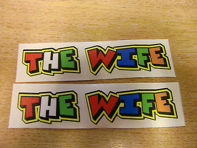 """Valentino Rossi style text - """"THE WIFE""""  x2 stickers / decals  - 5in x 1in"""