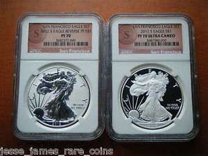 2012 S REVERSE PROOF SILVER EAGLE NGC PF70  70 CIRCLE 'S' SEAL SAN FRANCISCO SET