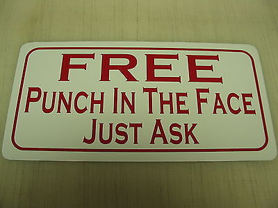 FREE PUNCH IN THE FACE Metal Sign Hockey Club Beer Stick Skates Boxing Bar Pool