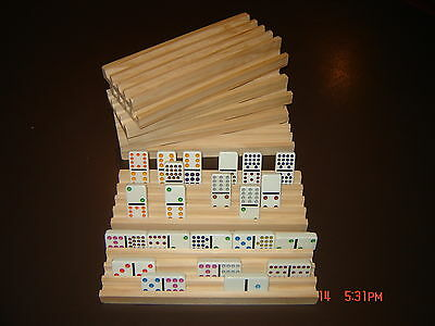 8 Handmade Wooden Domino Holders Mexican Train 4Rows On Each Rack New