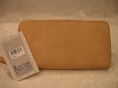 Kristine Accessories Tan Faux Leather Zip Around Clutch Wallet Purse 63237