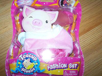 Teacup Piggies Pig Fashion Set Clothes Pink Sweater & Snow Board Ski Goggles