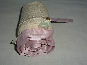 GAP-Flower-Planter-Rosette-Rose-Pink-Tulle-Clutch-Wristlet-Hand-Bag-Purse