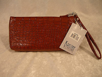 Kristine Accessories Brown Croco Zip Around Clutch Wallet W/ Strap 63708