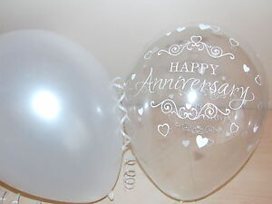 30th Pearl Printed WEDDING ANNIVERSARY Balloons / Party Decorations x 15