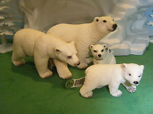 SCHLEICH-POLAR-BEAR-14357-14659-POLAR-BEAR-CUB-14358-14660-4-LOT-NEW