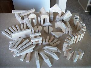 Handmade Wooden Building Blocks 121 pieces