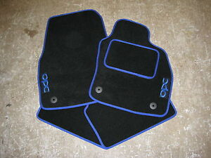 vauxhall opel corsa d 2007 on car mats blue opc logos. Black Bedroom Furniture Sets. Home Design Ideas