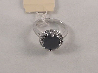 Silver Tone Cubic Zirconia & Black Stone Fashion Ring on Rummage