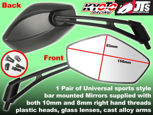 PAIR UNIVERSAL SPORTS MIRRORS FIT 10MM & 8MM TO FIT KAWASAKI ER-5 ER500 ER5