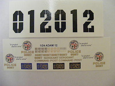 Adam 12 TV Show Police Car Decals for 1/24/ 1/25 Model/ Die Cast Scale Cars*****