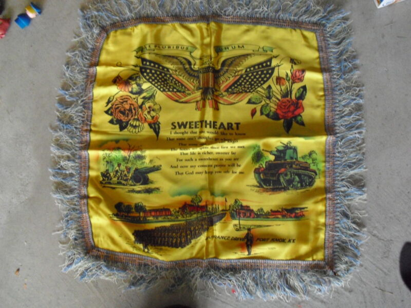 Vintage Silk Pillow Sham US Army Fort Knox Kentucky - Sweetheart Motto