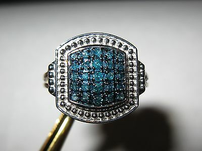 .37ct Sparkling Natural Blue Diamond Ring Heavy Sterling Silver Size 5, Nice