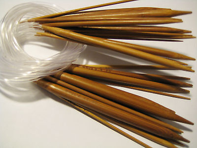 15 size 16 inch Carbonized Patina Circular Bamboo Knitting Needles US 0-15