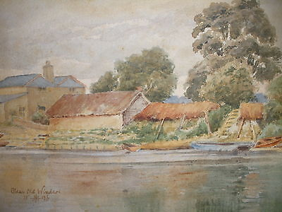ANTIQUE 19t BRITISH WATERCOLOR NEAR WINDSOR LANDSCAPE HOUSES RIVER BOAT PAINTING