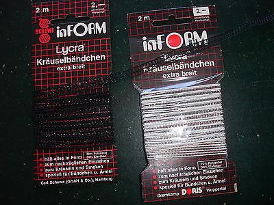 Kräuselband Hutgummiband 7mm breit 4 Pack schwarz u. weiß- nur 45 Cent/Stück