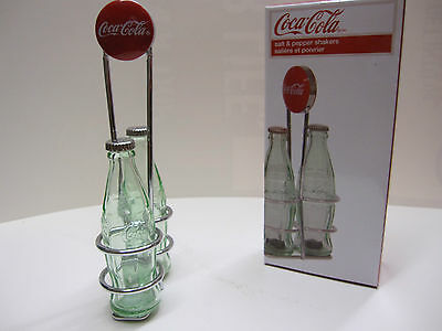 Coca-Cola Salt & Pepper Shakers with Wire Rack- NIB