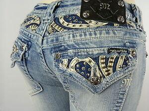 Miss-Me-Jeans-Womens-New-Rhinestones-BOOT-CUT-Style-JP6063B2