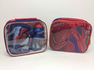 Childrens Lunch Bag with Bottle & Sandwich Box,Batman, Superman and Spiderman