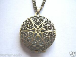 Vintage style filigree round locket necklace - silver or antique gold