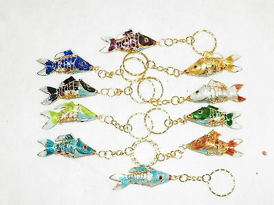 Cloisonne Gold Koi Fish Pendent Cell Charm Key Chain Ring 10 Choices Lucky