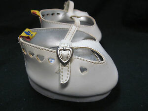 BUILD-A-BEAR-WORKSHOP-TEDDY-BEAR-SHOES-WHITE-PATENT-LEATER-MARY-JANES-W-HEARTS