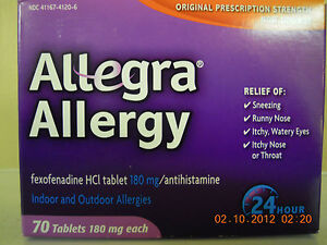 NEW FACTORY SEALED ALLEGRA ALLERGY 70 TABLETS 180MG INDOOR&OUTDOOR EXP 2015