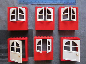 LEGO-Fabuland-2-x-Large-Doors-4-x-Windows-with-Frames-Red-White
