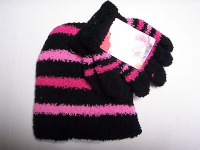 Glove & Hat Set, One Size Fits Most, Black, Hot Pink, & Light Pink,
