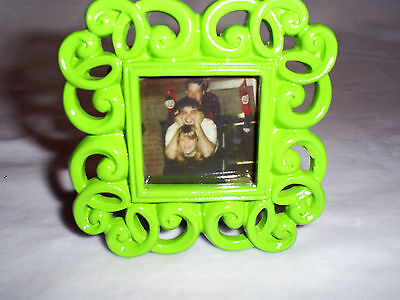 3 Tall X 3 Wide Neon Green Mini Photo Frame-photo Size Is 1.6 X 1.6