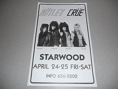 Motley Crue 11X17 Starwood 1981 1st Show Concert Poster Copy Vince Nikki Mick