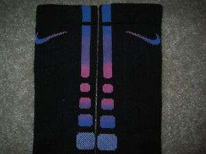 Custom-Nike-Elite-Socks-L-Black-w-Blue-Purple-and-Pink-Stripe