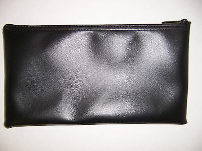 2 Brand New Black Vinyl Bank Deposit Money Bag - Tool Organizer