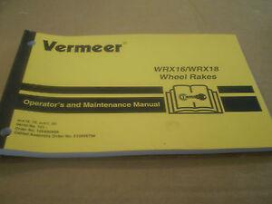 VERMEER-WRX-16-WRX-18-WHEEL-RAKE-OPERATORS-MANUAL-MAINTENACE-TRACTOR