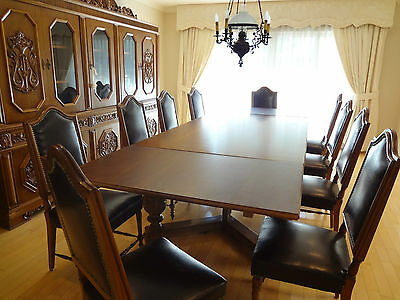 RENAISSANCE REVIVAL DINING ROOM SET HAND CARVED EUROPEAN ANTIQUE